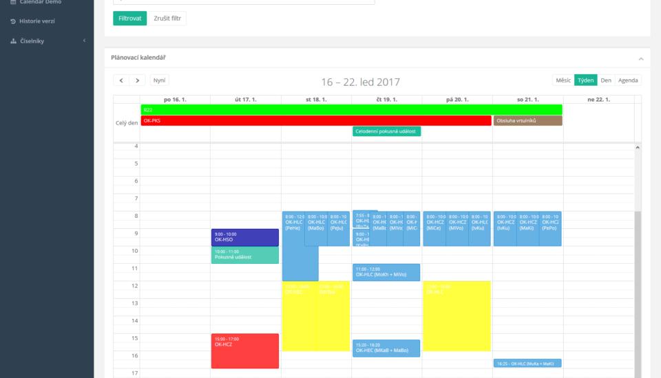 Aplikace pro plánování letů a dalších událostí